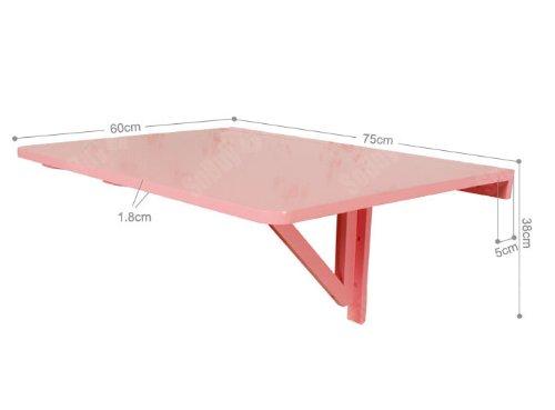 SoBuy Tavolo da muro pieghevole in legno 75*60cm, colore: rosa, So ...