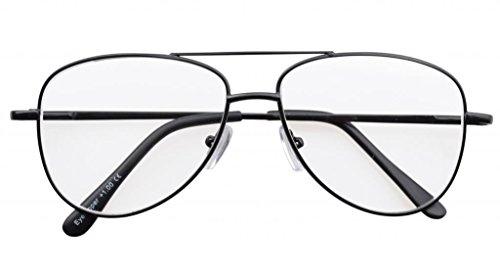 Eyekepper Lunettes de Vue - Style Aviateur Pilote - Monture Metalique - Excellente qualite (Verre gris) Noir