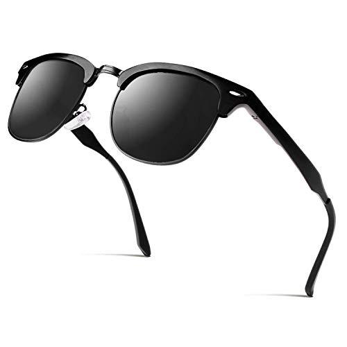 CGID MJ56 clubma Unisex Retro Vintage Sonnenbrille im angesagte 60er Browline-Style mit markantem Halbrahmen Sonnenbrille,Brillen trends 2018, B Schwarz Grau,