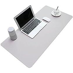 BUBM Tapis de souris en cuir PU et mate Bureau Pad et protection d'écran souris Pad pour ordinateurs et ordinateurs portables 80 x 40cm (Gris)
