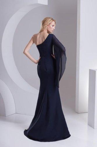 GEORGE BRIDE Elegante Chiffon Meerjungfrau mit einem aermel Abendkleid Schwarz