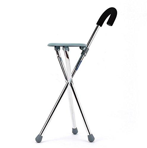 RUIRUI In acciaio inox sgabello pieghevole anziani alpinismo tempo libero bastone da passeggio di canna