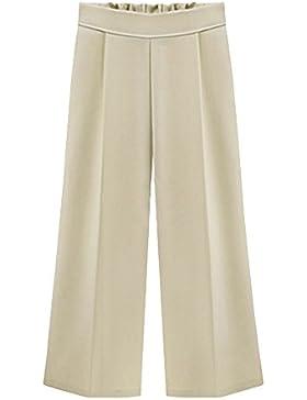 Pantalones Anchos Para Mujer, Palazzo Pantalones Verano Elegante Tallas Grandes Beige (3/4 Longitud) 4XL