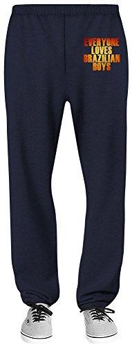 Everyone Loves A Brazilian Boys Relaxed Jersey Pants - 70% Baumwolle, 30% Polyester - Hochwertige Sweatpants für Indoor & Outdoor Aktivitäten Small (Jersey Navy Boys Blue)