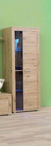 7-7-2000: made in BRD - Serie AWESA - Vitrine - Vitrinenschrank - Glasvitrine - 1 Tür mit Glas - Eiche sand dekor