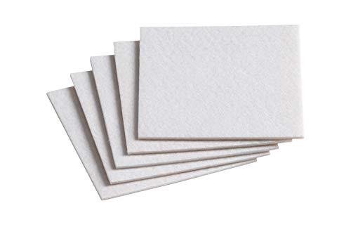 Metafranc Filz-Gleiter 100 x 100 mm - selbstklebend - weiß - 5 Stück - Effektiver Schutz Ihrer Möbel & Stühle / Möbelgleiter-Set für empfindliche Böden / Stuhlgleiter / Filz-Zuschnitt / 645346 -