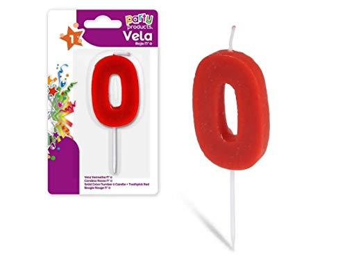 Party Vela de cumpleaños numero 0, 5 x 3.5 cm Color rojo 68024