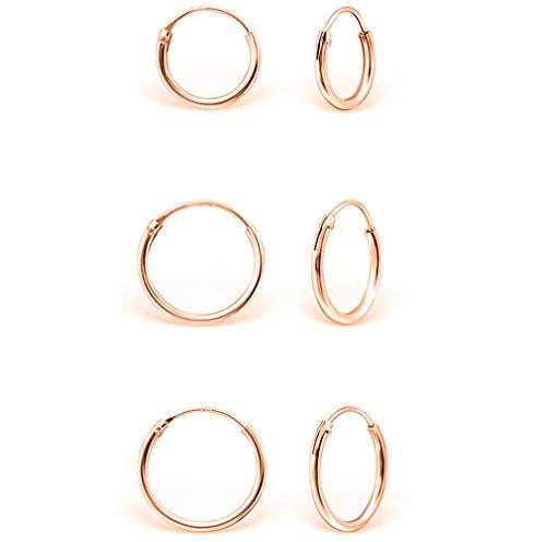 DTPsilver - Damen - Klein Creolen - Ohrringe 925 Sterling Silber und Rosen Vergoldet Set Paare 3 - Dicke 1.5 mm - Durchmesser 8, 10, 12 mm