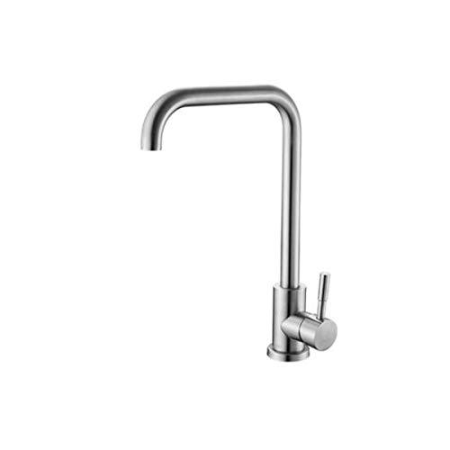 KPPTO Wasserhahn, Küchenhahn Waschbecken Wasserhahn warmes und kaltes Wasser Keramik Ventileinsatz Edelstahl Drehhahn Beautiful Life (Color : Silver, Size : 34 * 29 * 13.5cm) -