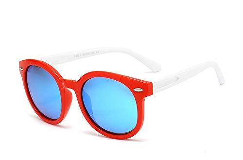 Sonnenbrille Vintage Runde Sunglasse Für Kinder, Schüler, Outdoor Brille Weiche Sicherheitsrahmen Hd Polarisierte Sonnenbrille Mit Etui Weiß Rot