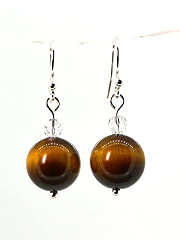 4LG (Live Love Laugh be Lucky) Brown Natural Tiger's Eye Crystal Silver Earrings Wild Leopard Positive Energy