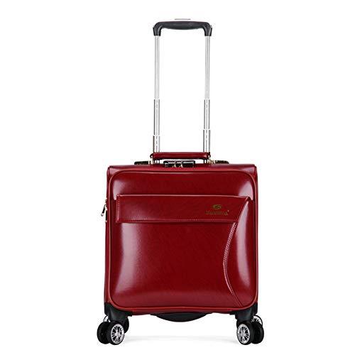 JBAG-one Laptop-Koffer für Damen, Business-Koffer mit Rollen, Leichtes, weiches Leder-Handgepäck, Trolley-Gepäck, Teleskopgriff, 18 Zoll,Red - Leder Handgepäck