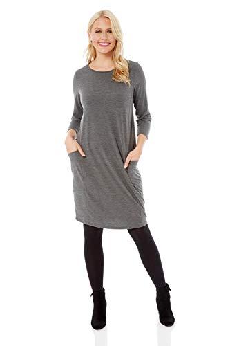 Roman Originals Femme Robe Pull avec Poches Uni Ample - Automne/Hiver Confortable Manches Courtes Longueur Genoux Décontracté - Gris - Taille 42