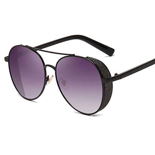 Runde Steampunk Sonnenbrillen für Frauen & Männer, glänzender Metallrahmen Seitenschutz Shades Sonnenbrille verspiegelte Gläser - Unisex Vintage Eyewear UV400 Protection YH7261,BlackFrame/GrayGradient