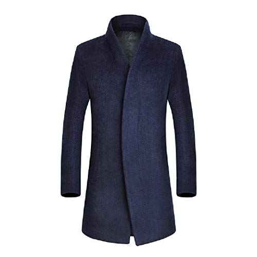 CuteRose Men Premium Overcoat Trench Wool Blended Fall Winter Single-Breasted PEA Coat Navy Blue XS -