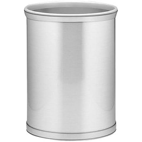 Mylar Kraftware cromo cepillado papelera con 1,91 cm cromo cepillado de banda y gris alpexe