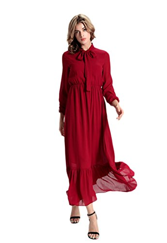 DaBag - Col Chemise Classique Noeuds papillon Manches Longues Maix Mousseline Robe Plissée Grande Jupe Swing Des Robes Soirée Rouge