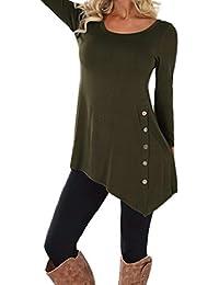 KEERADS T-Shirt à Manches Longues pour Femmes Tops Amples T-Shirt à Col Boutonné Chemisier Unicolore Col Rond Tunique Casual Lâche Shirt