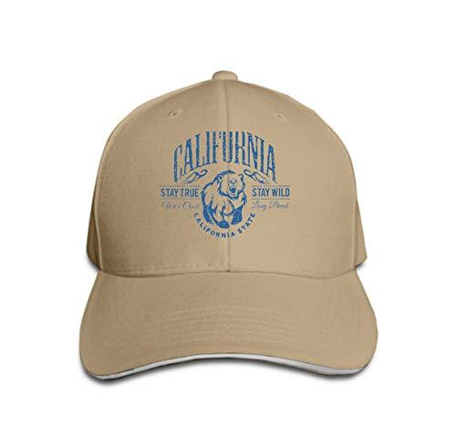 Unisex Baseball Cap Snapback Adult Cowboy Hat Hip Hop Trucker Hat California Republic Vintage Typography Grizzly Bear Print Sand Color