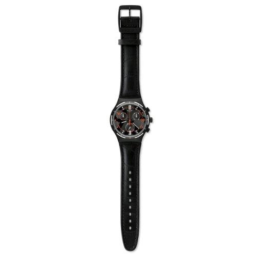 Swatch Classic Eruption YCB4023 – Reloj cronógrafo de cuarzo para hombre, correa de cuero color negro (cronómetro)