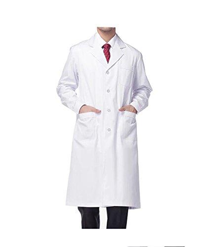 Wdf camice da laboratorio medici abbigliamento bianco camice uniformi da lavoro bianco uomo maniche lunghe pulsante manette