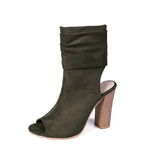 Kinlene Sandalias Zapatillas Zapatos de tacón Señoras de la Moda Cuadrado Zapatos de tacón Alto Boca de Pescado Rebaño Zapatos Romanos Sandalias(Verde,36)