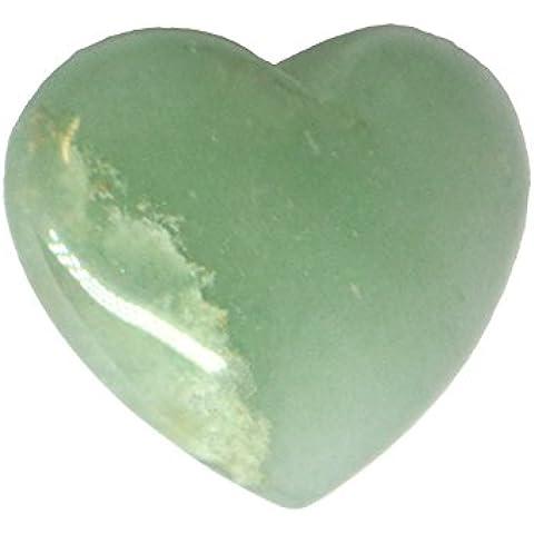 Avventurina verde 3cm Cuore Cristalli e sacchetto regalo in organza - Bag Obsidian