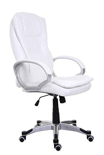 Sessel Weiß Bürosessel Chefsessel Bürostuhl Drehstuhl Bürodrehstuhl PU-Leder BSU002