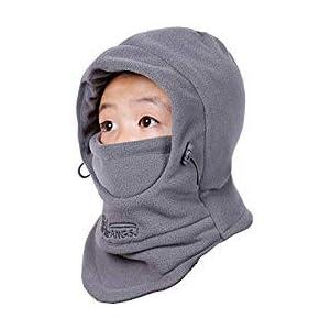 TRIWONDER Kinder Balaclava Winter Mütze mit Winterschal, Warmen Kapuzenschal Gesichtsmaske für Jungen Mädchen Outdoor Sport