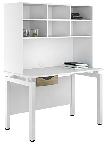 Kit Out My Office UCLIC Bench Desk Cupboard with Single Drawer and Open Upper Storage, Metal, Light Olive, 1200 mm
