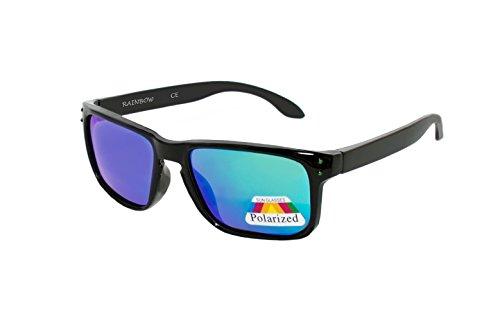 rainbow safety Kinder Sonnenbrille Polarisiert 5+ Jahre UV400 Schutz 3301 Schwarz verspiegelt Grün