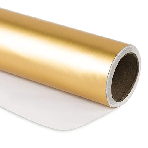 RUSPEPA Geschenkpapier Roll-Matte Gold Für Hochzeit, Geburtstag, Dusche, Glückwunsch Und Weihnachtsgeschenke - 76Cm X 10M Pro Rolle (Paper Wrap Roll)