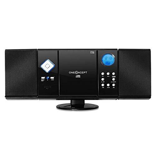 oneConcept V-12 • V2 • Impianto Stereo Compatto • Mini Stereo per Bambini • Radio VHF/FM • Lettore CD MP3 • Display LCD • USB • MP3 • SD • AUX-in • Telecomando • Sveglia • Orologio • Color Nero