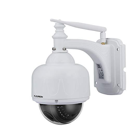 FLOUREON 1080P Dome IP Kamera WLAN Überwachungskamera PTZ Netzwerkkamera, Outdoor IP Cam, 4X Zoom P2P, Nachtsicht Bewegungsalarm, unterstützt Micro SD Karte - Dome