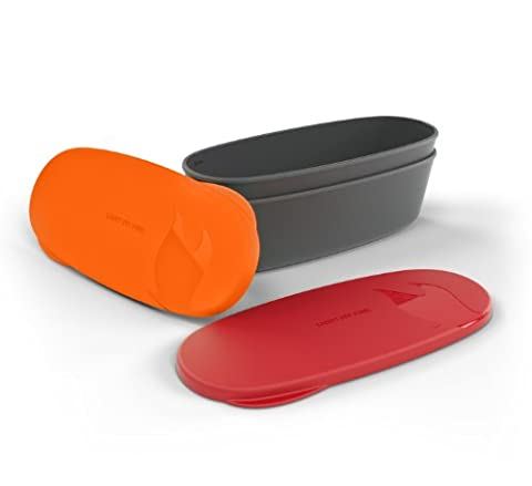 Light My Fire Snap Box Oval Waterproof Food Storage Container (2-Pack), Red/Orange