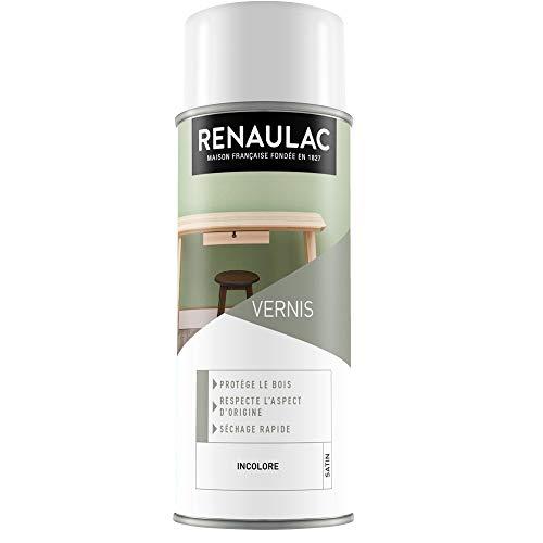 Renaulac Peinture Aérosol Déco Vernis Bois Incolore Satin - 400 ml