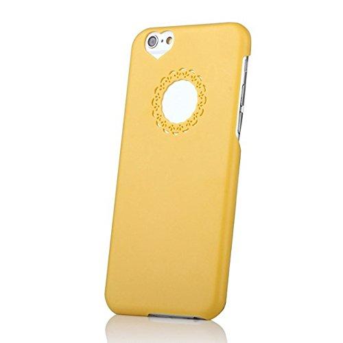 iPhone 6 6S Hülle Herz Handyhülle von NICA, Leichtes Hardcase Schutzhülle Hardcover, Slim Cover Etui Ultra-Dünne Handy-Tasche, Ultra-Slim Phone Back-Cover Skin Bumper für Apple iPhone-6 6S- Rosa Gelb