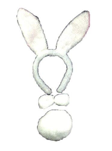 Rabbit Fancy Dress Set Ears Tail & Bow Tie Halloween (Rabbit Tail Kostüme)