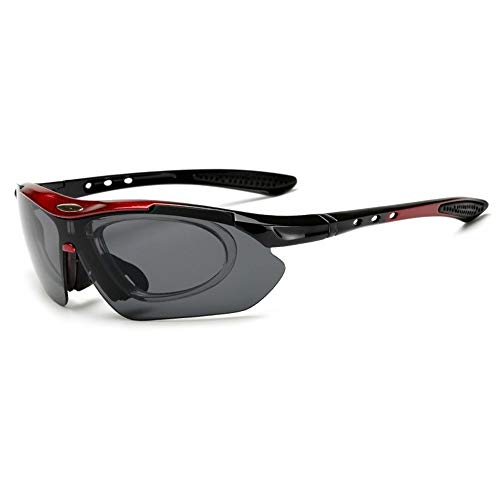 Easy Go Shopping 5 Bezahlsets Outdoor-Sport-Fahrradbrille mit explosionsgeschützter Myopie-PC-Sonnenbrille Sonnenbrillen und Flacher Spiegel (Color : Blue Frame-5 Lens)