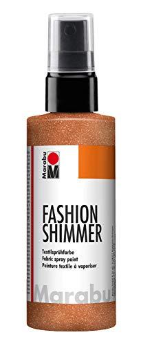 Marabu 17180050585 - Fashion Shimmer, Textilsprühfarbe auf Wasserbasis, für dunkle Textilien, einfache Fixierung, waschbeständig bis 40°C, geeignet zum Schablonieren, 100 ml, schimmer kupfer -