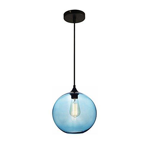 MZStech Spherical Klassische Glas Pendelleuchte, Kronleuchter Licht LED Hängelampe (Blau) Blau Glas