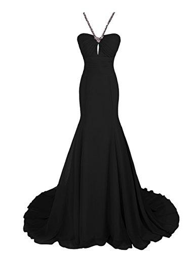 Dressystar Robe femme, Robe de soirée/gala longue à sirène,traîne, en Mousseline Noir