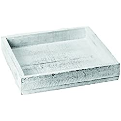 bandeja de madera 20x20x4cm Blanco