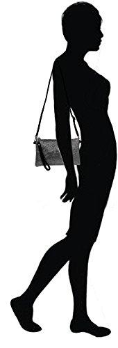 Lae In - Sac Pochette (main, épaule ou bandoulière) Soirée / Mariage / Estivale - Paillettes, synthétique et Cuir Vachette - Fabriqué en Italie Noir