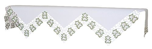 Xia Home Fashions Tannenbaum Embroidered Cutwork Christmas Mantel Scarf, 82 by 60 by 20-Inch by Xia Home Fashions