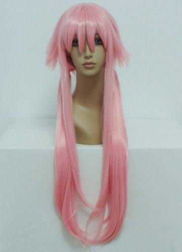 COSPLAZA Cosplay Wigs Kostueme Peruecke 100cm lang gerade Pink The Future Diary Gasai Yuno synthetische Karneval Party Haar