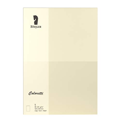 Rössler 220772512 Coloretti Karten, B6 hd-pl, 220 g/m², 5 Stück, creme