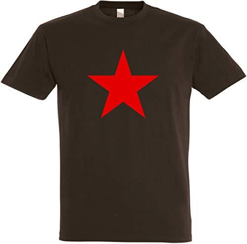 Herren T-Shirt Red Star - Roter Stern S bis 5XL (S, Dunkelbraun)