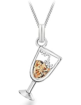 Tuscany Silver Rolokette Mit Anhänger Sterling Silber Kristall Champagner Glas 41cm/16zoll