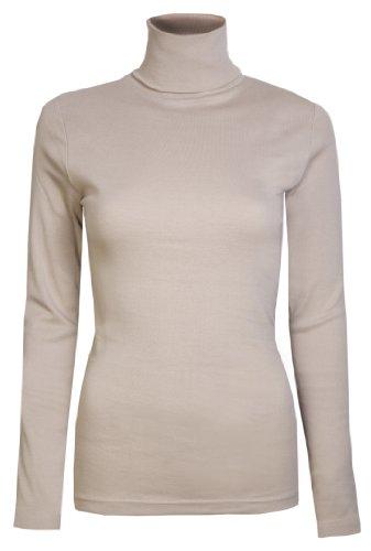 Damen Rollkragen-Pullover, ausschließlich von Brody & coâ ®, Unifarben, für den Winter und Skifahren, Stretch-Qualität, Jersey Baumwolle Gr. X-Large, beige